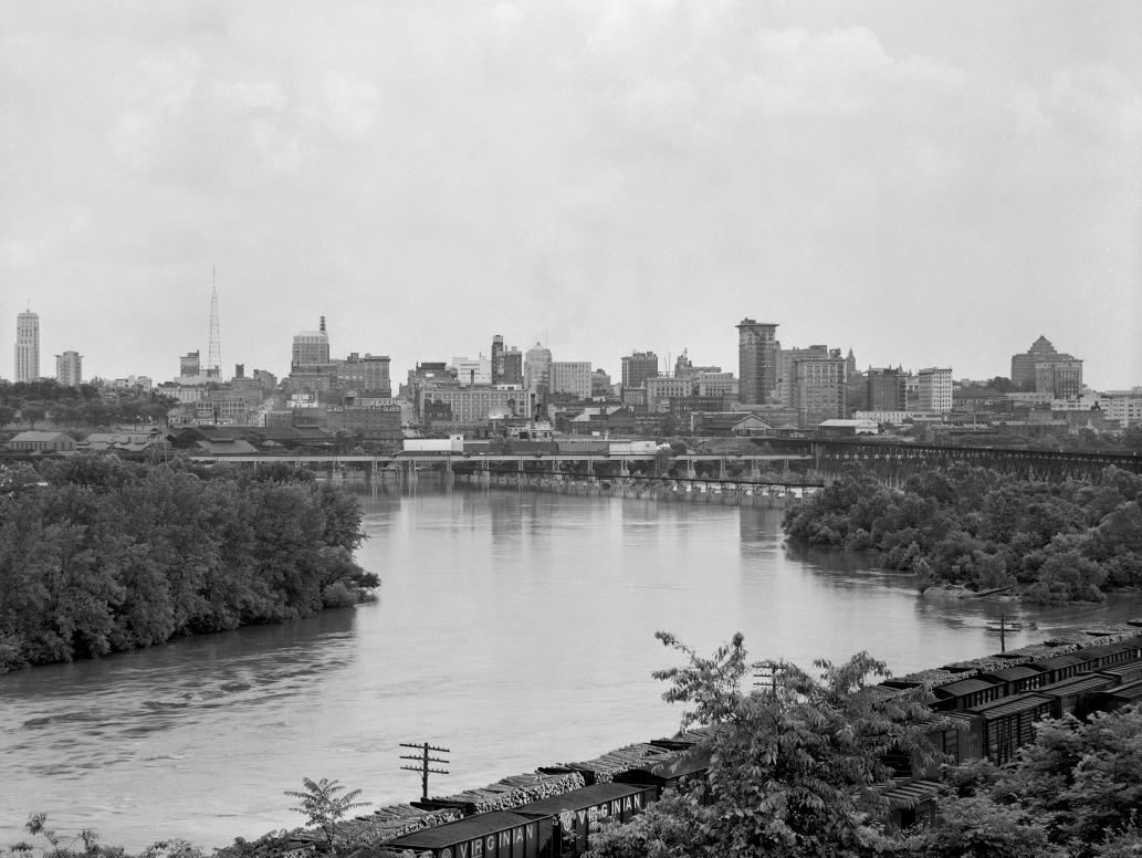 Richmond Skyline from Rocketts Landing 1950s